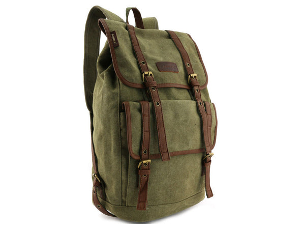 Vintage Canvas Backpack with Leather Accents - Serbags  - 6