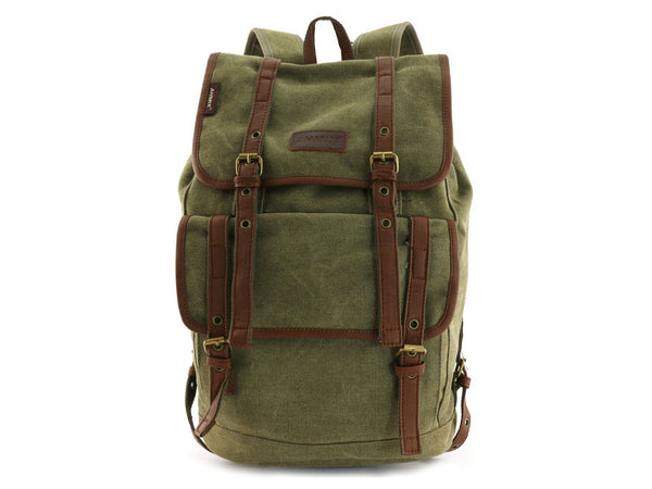 Vintage Canvas Backpack with Leather Accents - Serbags  - 4