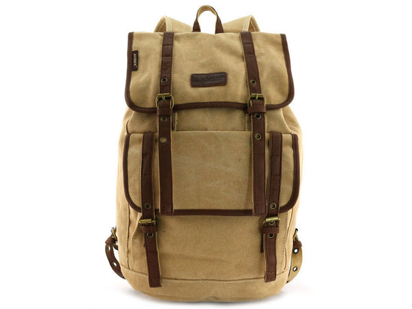 Vintage Canvas Backpack with Leather Accents - Serbags  - 3
