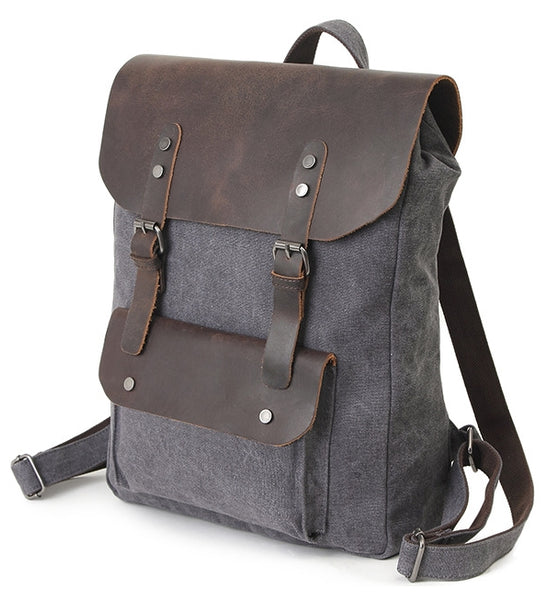 Adjustable Shoulder Straps Vintage Canvas & Leather Backpack with Double Magnetic Flap Snaps