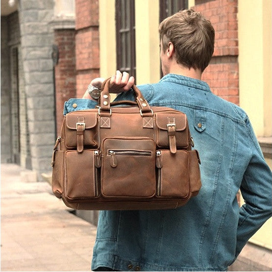 Vintage Leather Briefcase Handmade Genuine Dispatch Travel Bag