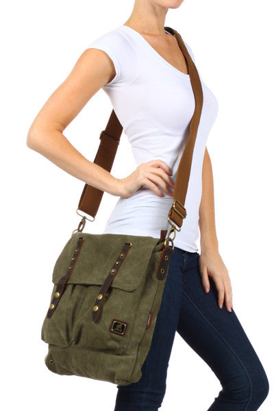 Vintage Inspired Canvas Shoulder Bag - Serbags  - 8