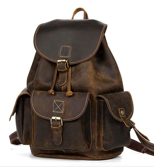 Rugged Genuine Leather Vintage Rucksack with Multi-Pockets and Double Shoulder Straps