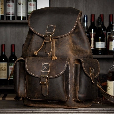 Gorgeous dark-brown vintage leather backpack