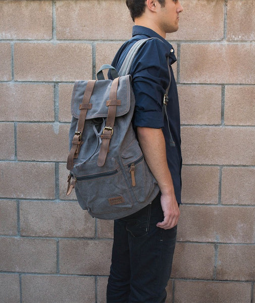 Gray Casual Vintage School Hiking Canvas Backpack by Serbags