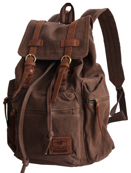 sturdy dark brown vintage hiking backpack