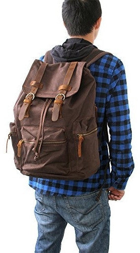 guy sporting the beautiful dark brown vintage canvas backpack by Serbags