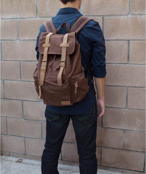 Sturdy Vintage School Hiking Outdoor Backpack - 15