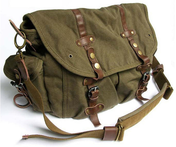 Stylish Vintage Green Canvas Messenger Bag with Large Pockets