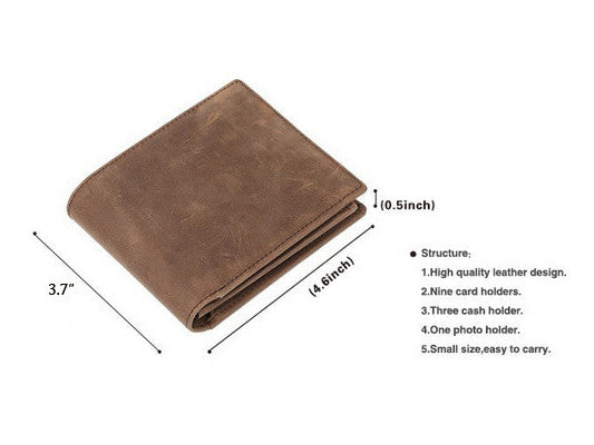 Slim Wallet Genuine Leather Vintage - Serbags  - 4
