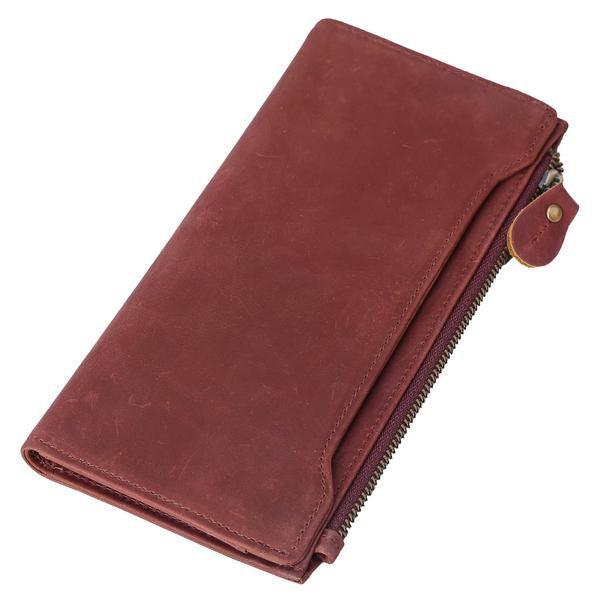 Vintage Premium Top Grain Leather Zipper Clutch Bifold Wallet Checkbook Case