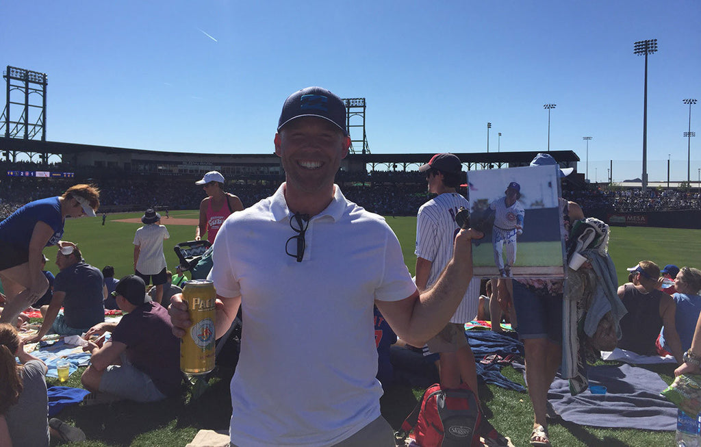 Dan in Sloan Park in Mesa, Arizona holding his Bill Buckner Autograph