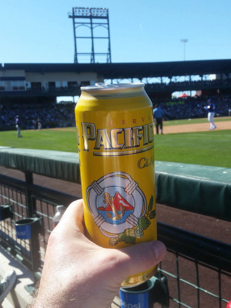 Close up of Pacifico beer can at sloan park watching Cubs Spring Training Game in Mesa