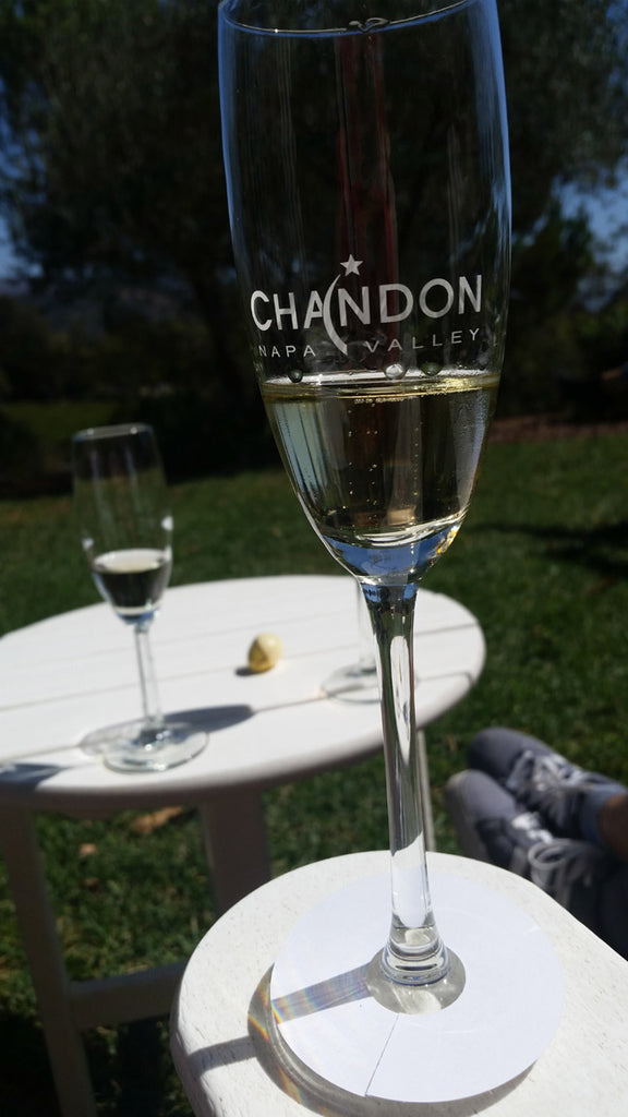 glass of sparkling wine from Domaine Chandon outside of Yountville, California.