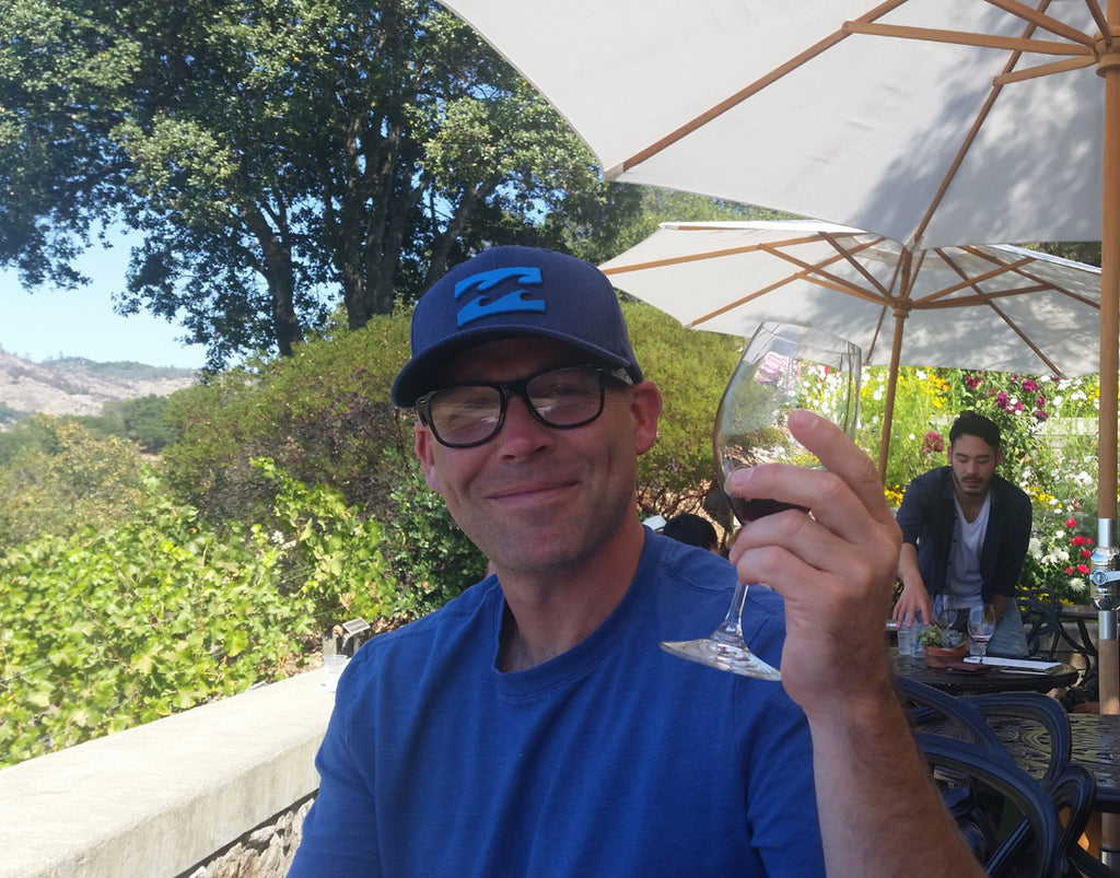 Dan sipping wine somewhere in Napa Valley near Yountville, California