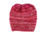 Ponytail Beanie Hat Rose Pink