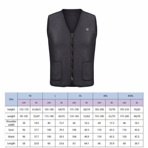 Electric Heated Vest Sizing Guide