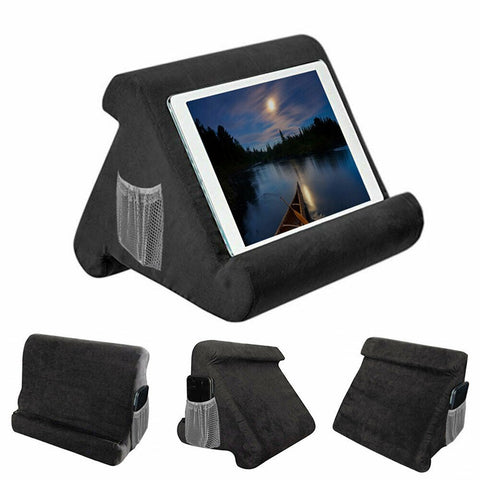 Tablet pillow holder for bed with phone pocket