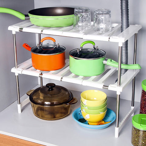 Expandable Double Level Shelf Organizer