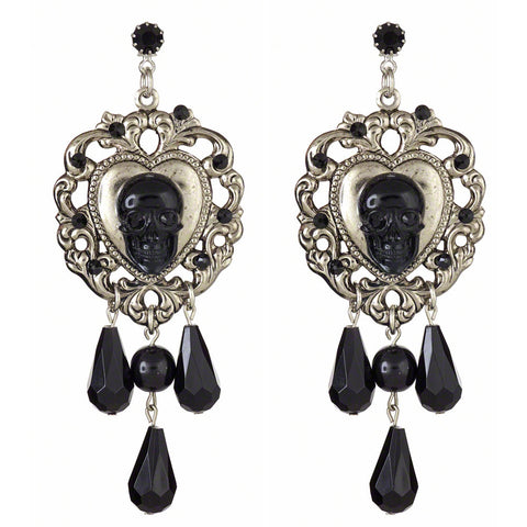 Cascade Skull Earrings (Black)