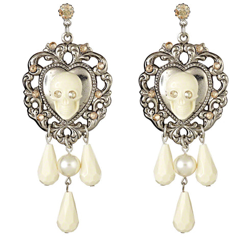 Cascade Skull Earrings (Ivory)