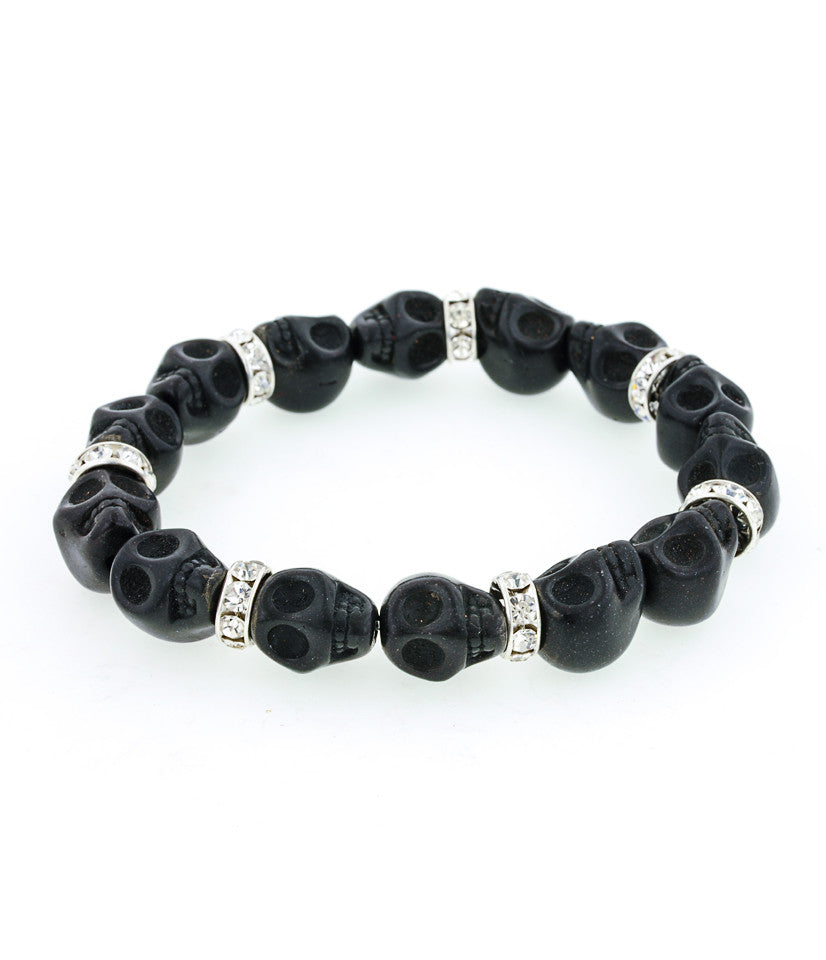 Day of the Dead Jewelry Howlite Skull Bracelet-Black