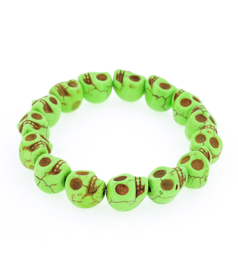 Day of the Dead Howlite Skull Bracelet-Green
