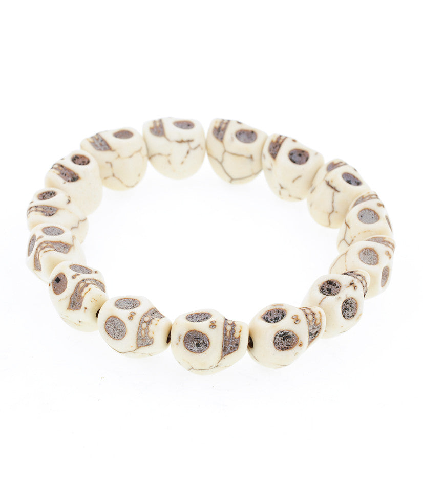 Day of the Dead Jewelry Howlite Skull Bracelet-Cream