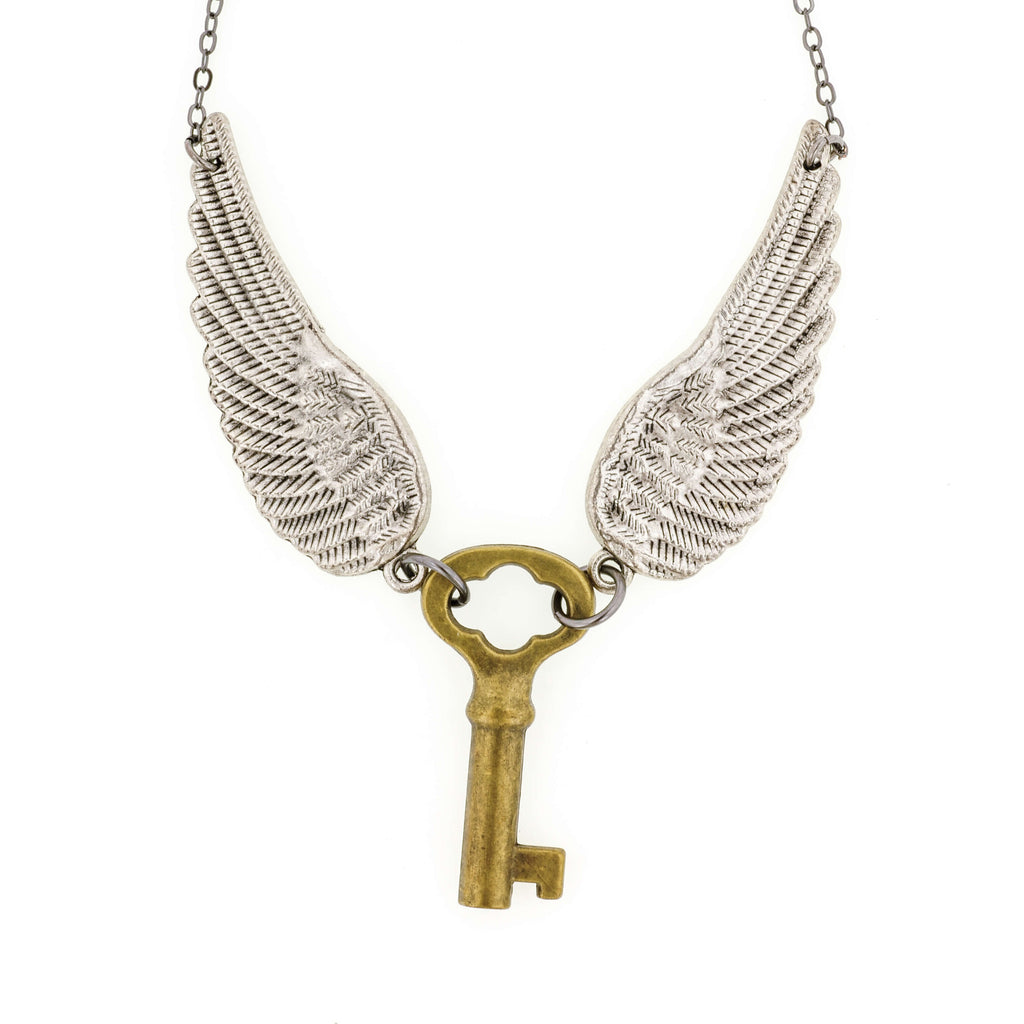 Gold Skeleton Key With Angel Wings Necklace- Aged Silver