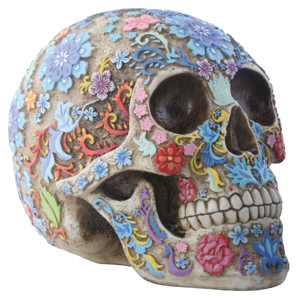 Human Skull With Intricately Carved and Hand Painted Floral Vines- Home Decoration