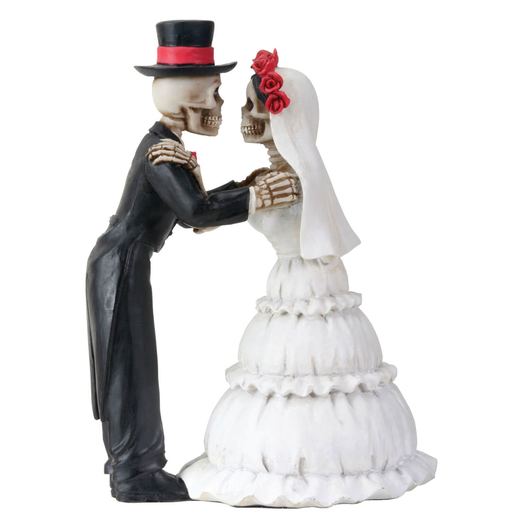 Skeleton Bride and Groom Lovers Celebrate Eternal Love With A Kiss - Wedding Cake Topper and Statue