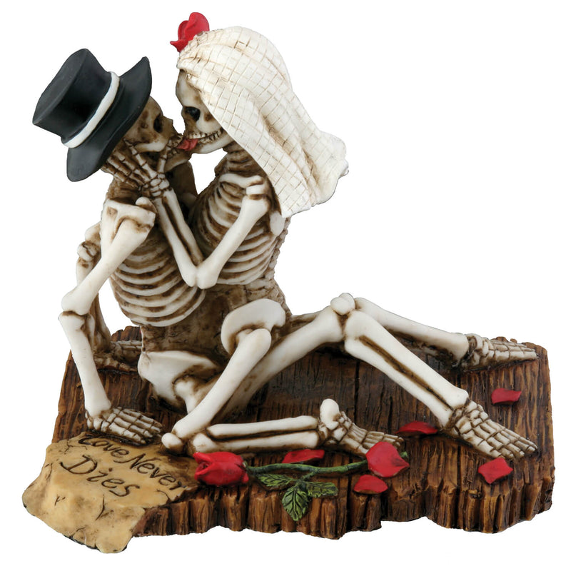 Skeleton Couple Dancing and Celebrating Their Eternal Love Statue