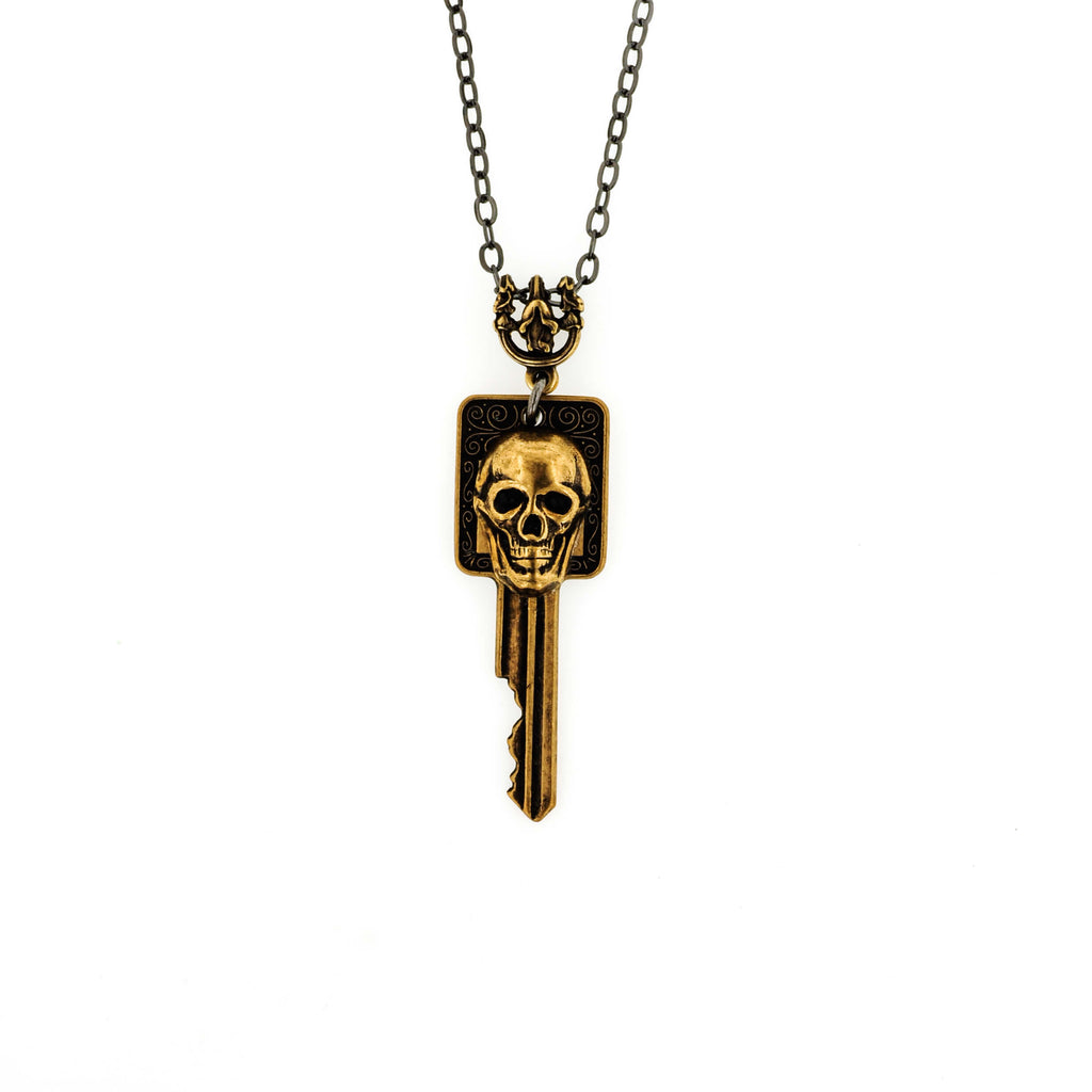Badass Skull On Safe Deposit Box Key Necklace - Aged Gold Patina
