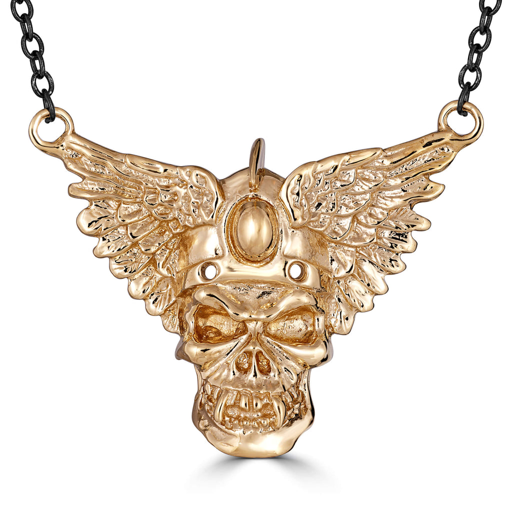 Badass Skull With Wings Necklace