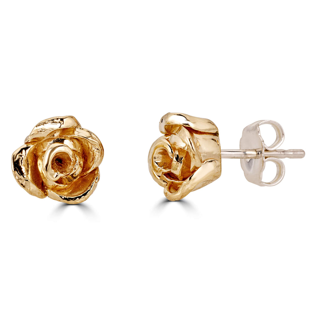 Blossoming Rose Earrings - Brass with Sterling Silver
