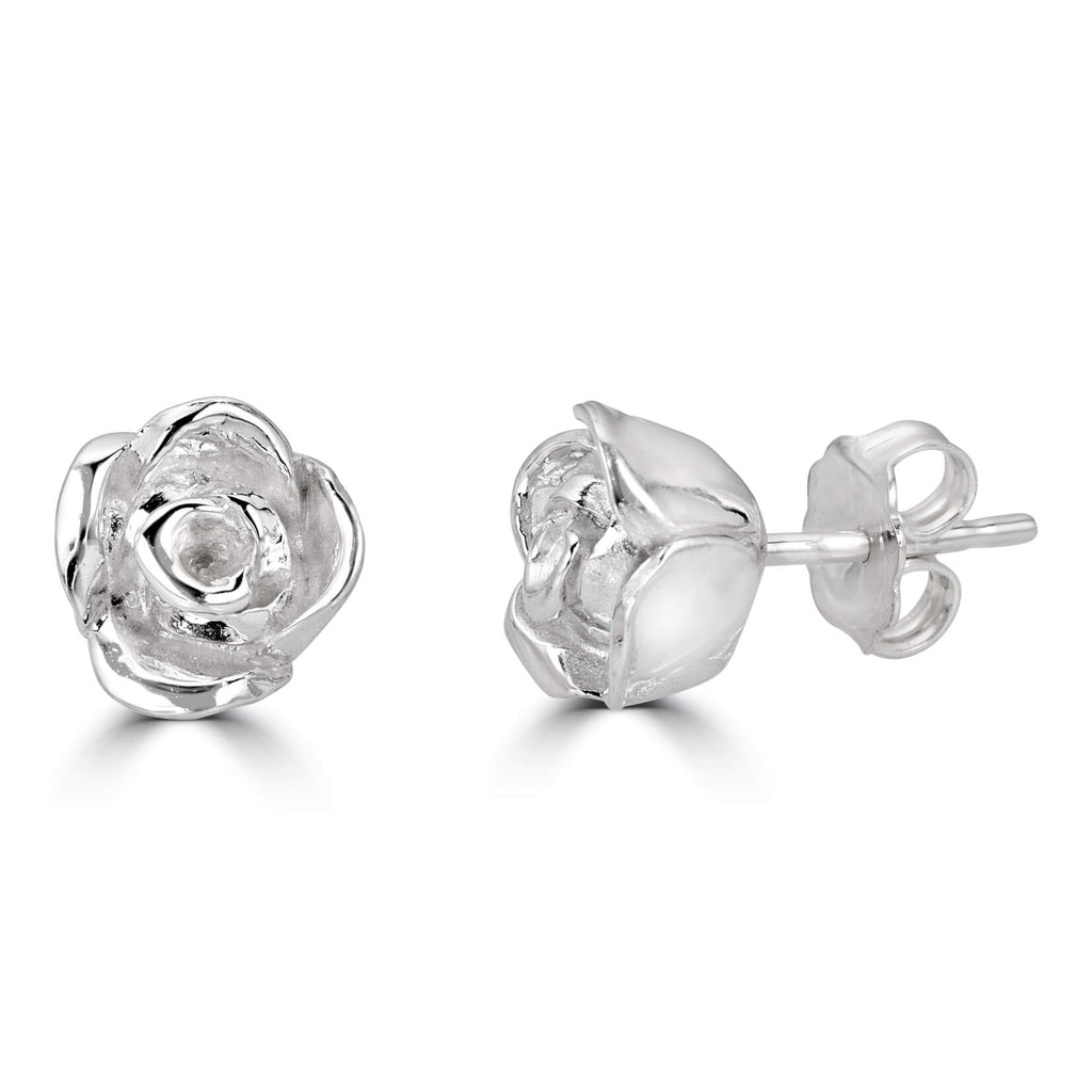 Blossoming Rose Earrings - Sterling Silver