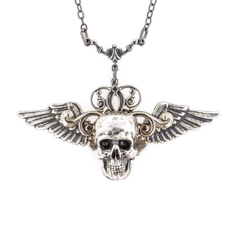 Cain Skull With Angel Wings Necklace - Aged Silver