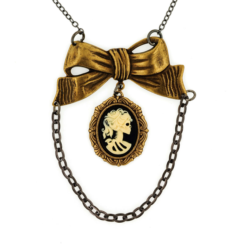 Miss Skeleton Bride Bow Cameo Necklace- Cream on Black- Aged Gold