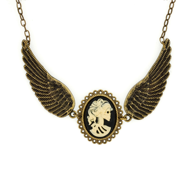 Miss Skeleton Bride Cameo Angel Wing Necklace - Aged Gold