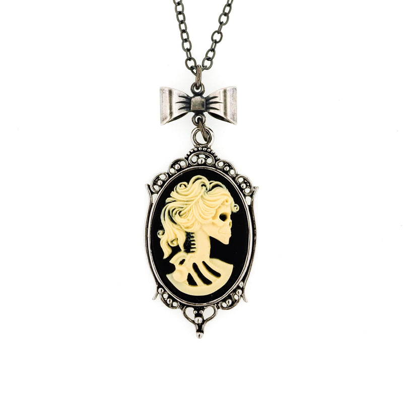 Gothic Skeleton Bride Cameo Necklace- Cream on Black - Aged Silver