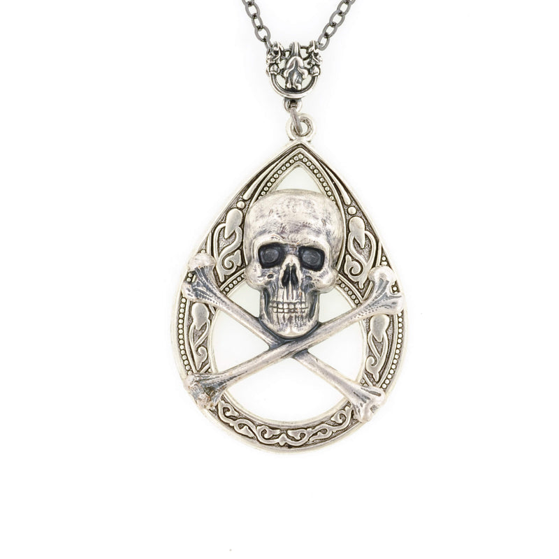 Skull And Crossbones Tear Drop Necklace - Aged Silver