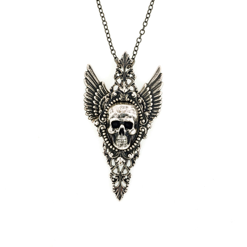 Aufidius Skull Angel Wing Necklace - Aged Silver