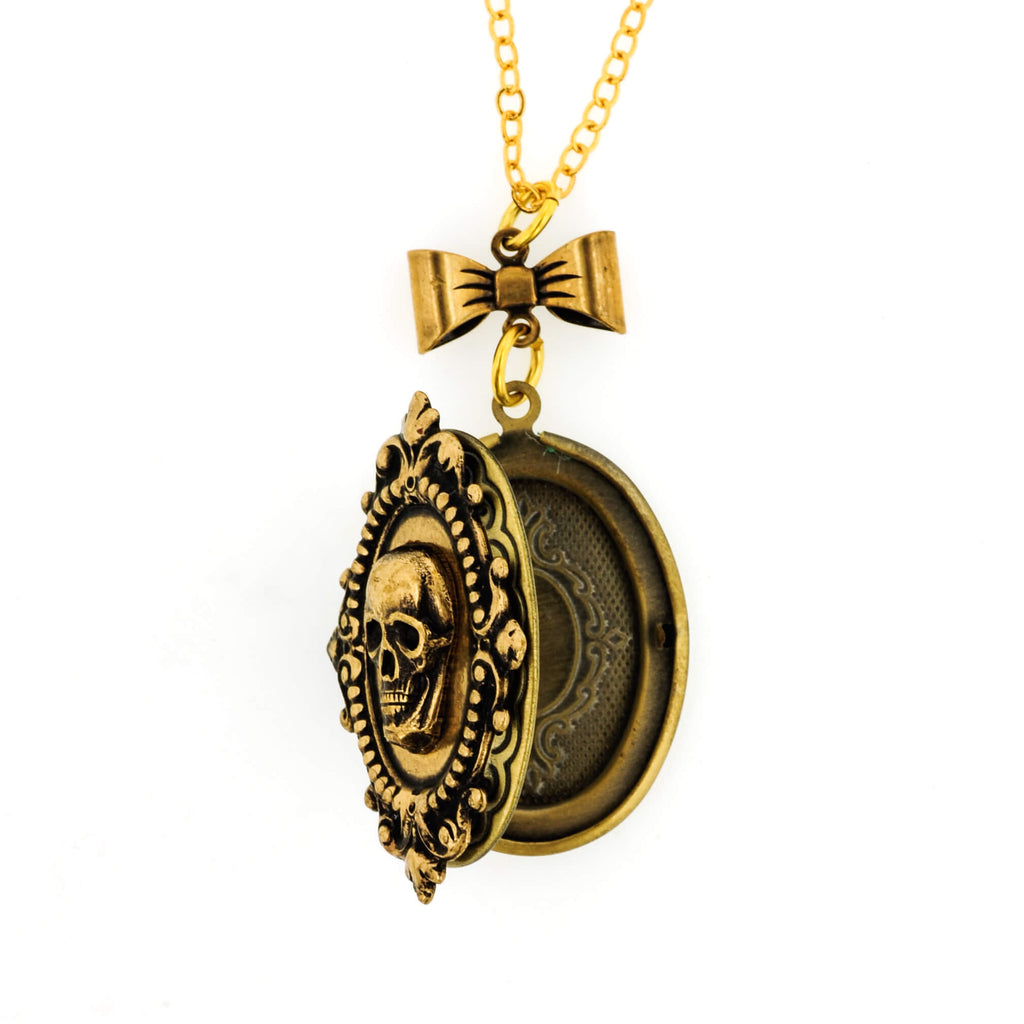 Macabre Gothic Skull Locket Necklace - Aged Gold Patina