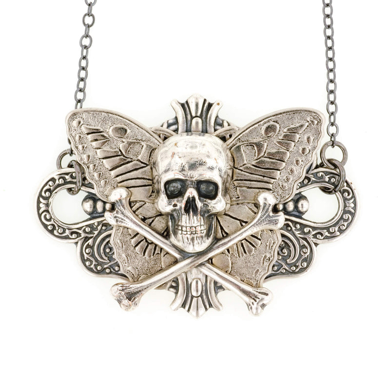 Butterfly Skull With Crossbones Necklace - Aged Silver