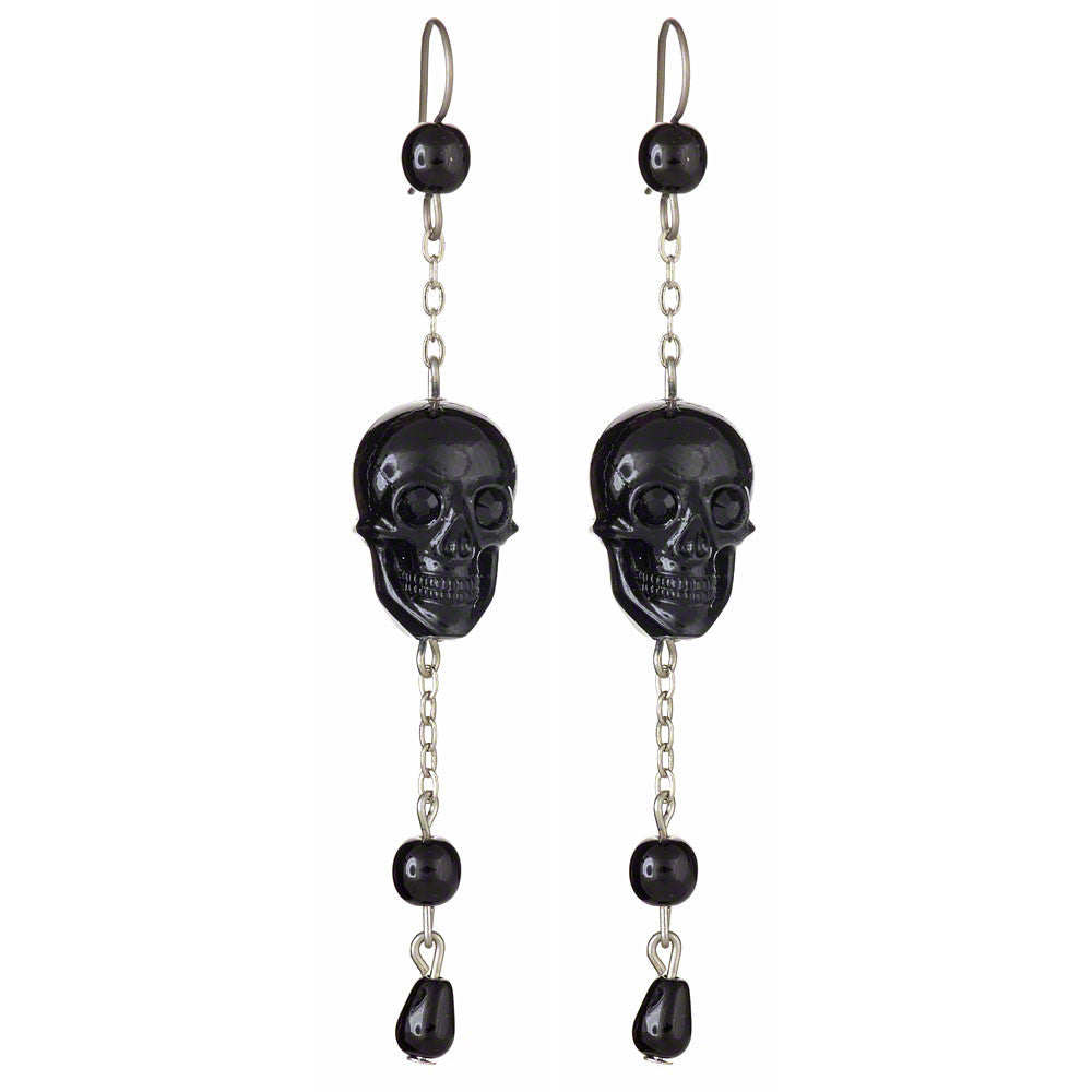 Skull Drop Earrings (Black)