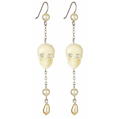 Skull Drop Earrings (Ivory)
