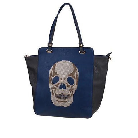 Two-tone Gothic Skull Tote - Navy Blue