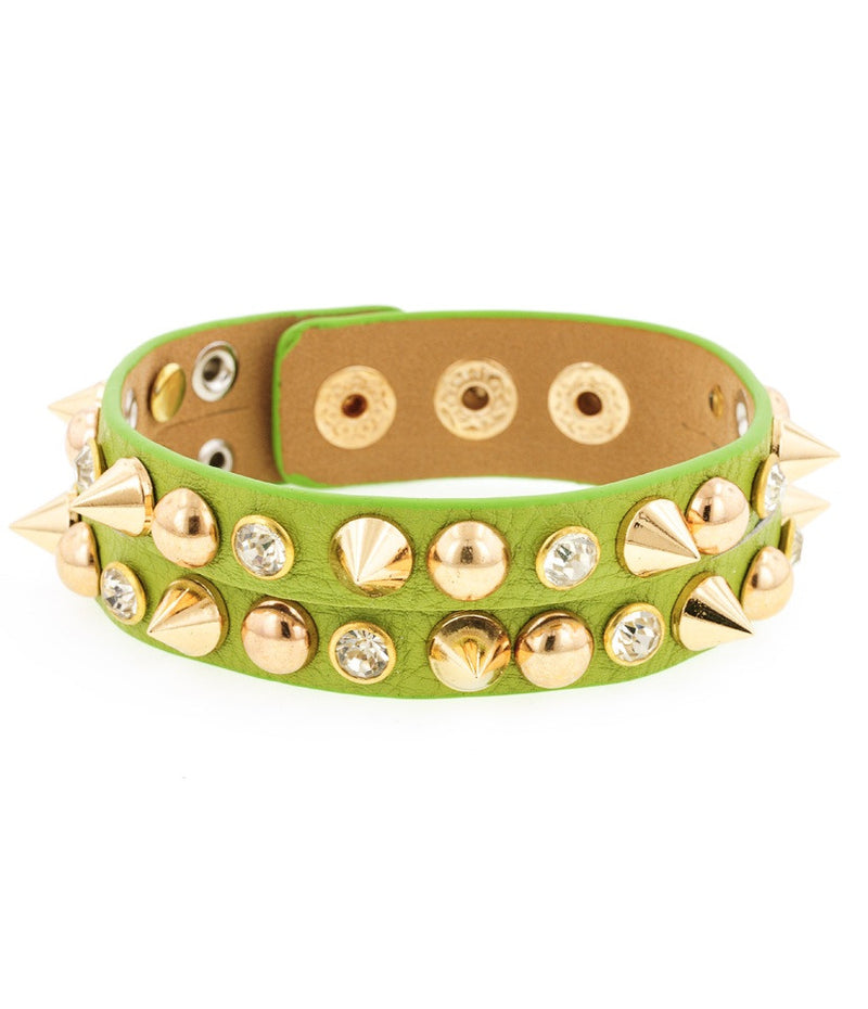 Day of the Dead Howlite Skull Bracelet-Green (Large skulls)