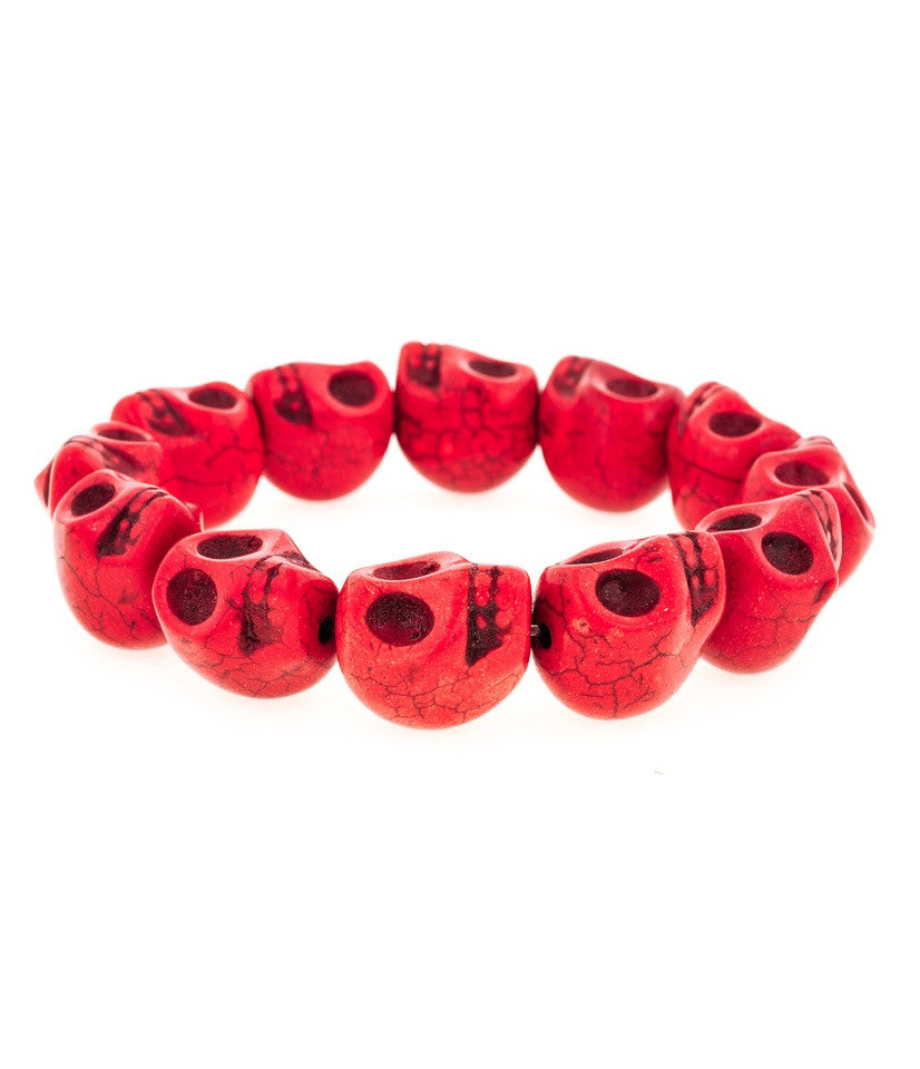 Day of the Dead Howlite Skull Bracelet-Red (Large skulls)