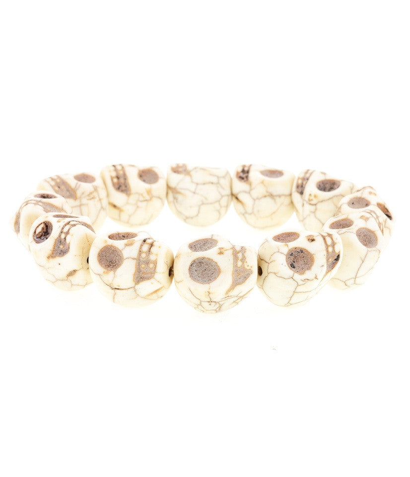 Day of the Dead Howlite Skull Bracelet-Cream (Large skulls)